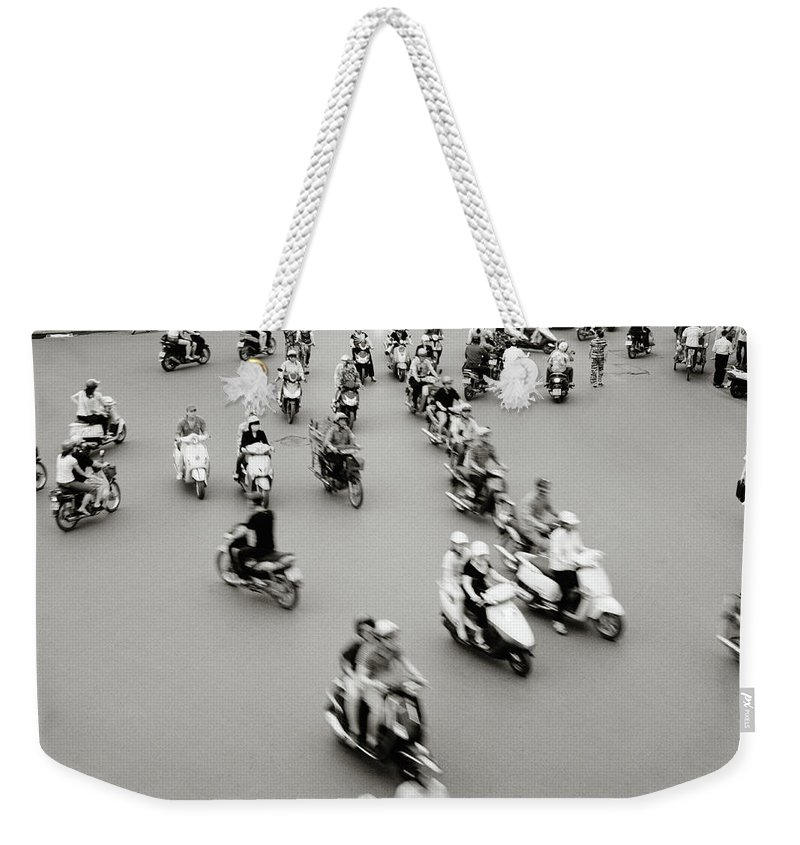 Asia Weekender Tote Bag featuring the photograph Hanoi Traffic by Shaun Higson