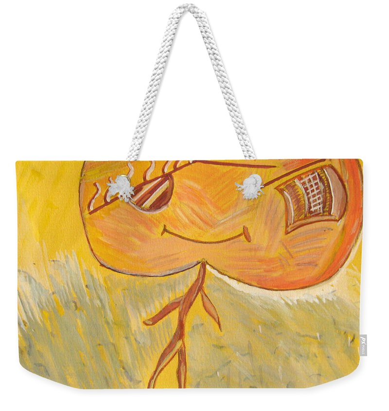 Apple Weekender Tote Bag featuring the painting Happy Apple by Alina Cristina Frent