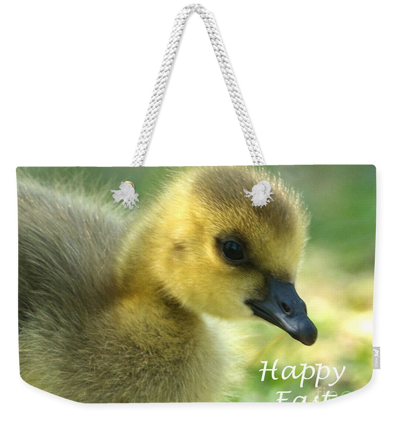 Easter Weekender Tote Bag featuring the photograph Happy Easter Gosling by Sharon Talson