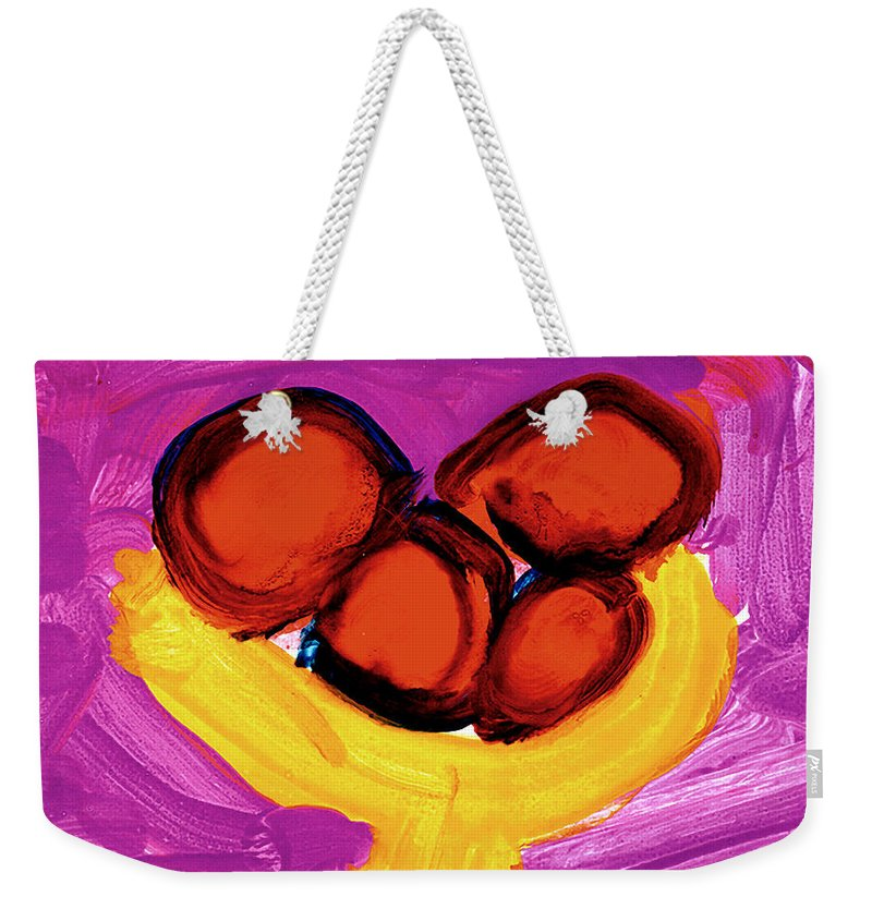 Apples Weekender Tote Bag featuring the painting Happy Fruit by Cortland Bobczynski Age Six