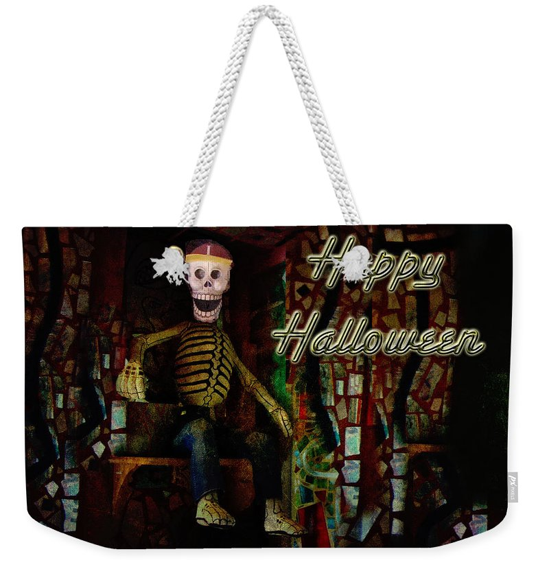 Halloween Weekender Tote Bag featuring the photograph Happy Halloween Skeleton Greeting Card by Mother Nature