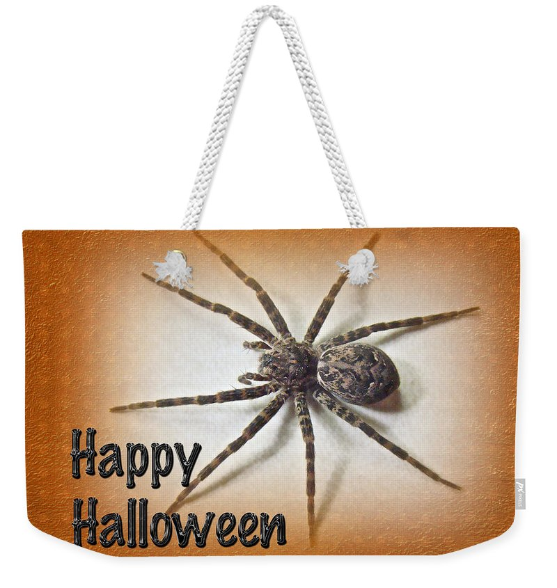 Halloween Weekender Tote Bag featuring the photograph Happy Halloween Spider Greeting Card - Dolomedes Tenebrosus by Mother Nature