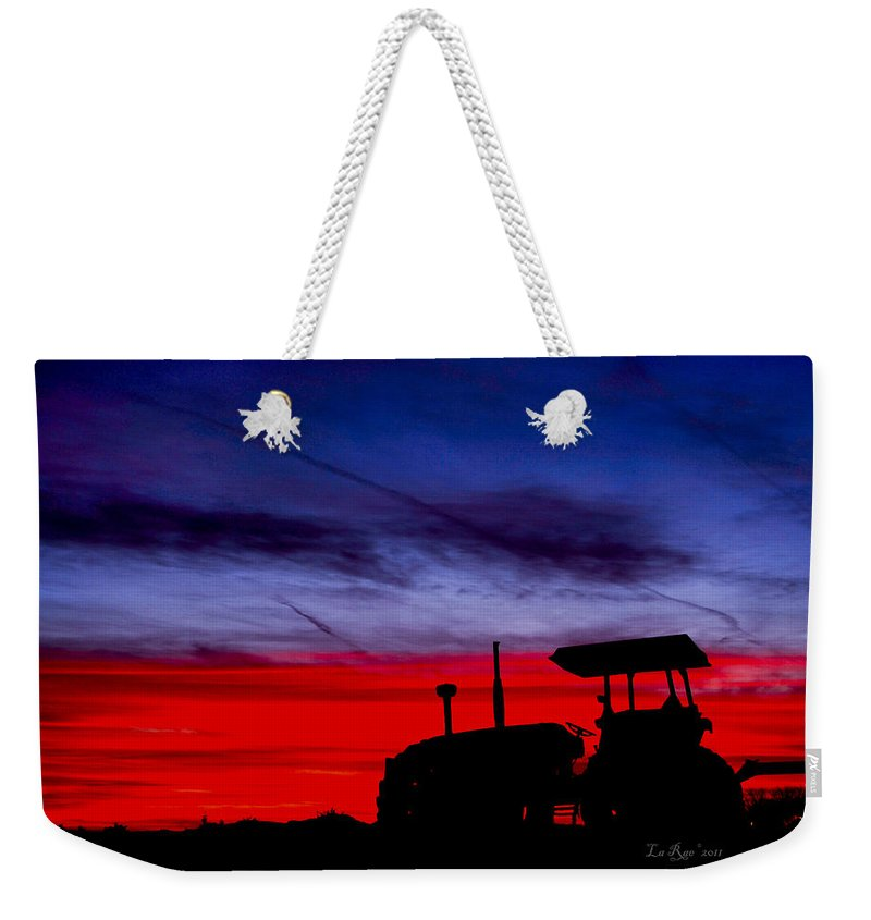Farming Weekender Tote Bag featuring the photograph Hard Day Ends by La Rae Roberts