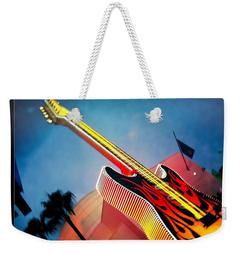 Hard Rock Cafe Weekender Tote Bag featuring the photograph Hard Rock Guitar by Nina Prommer
