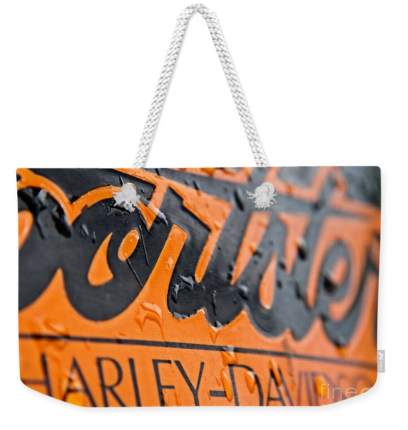 American Weekender Tote Bag featuring the photograph Harley Davidson Logo by Stelios Kleanthous