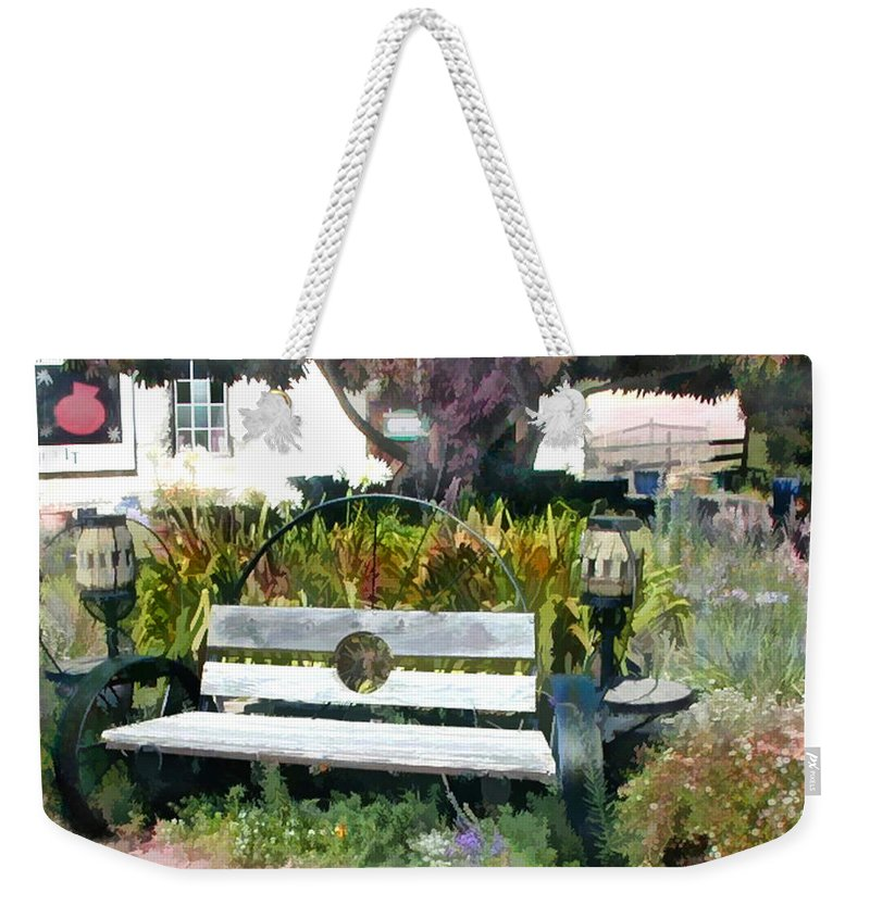 Weekender Tote Bag featuring the painting Harmony Gallery Garden by Elaine Plesser