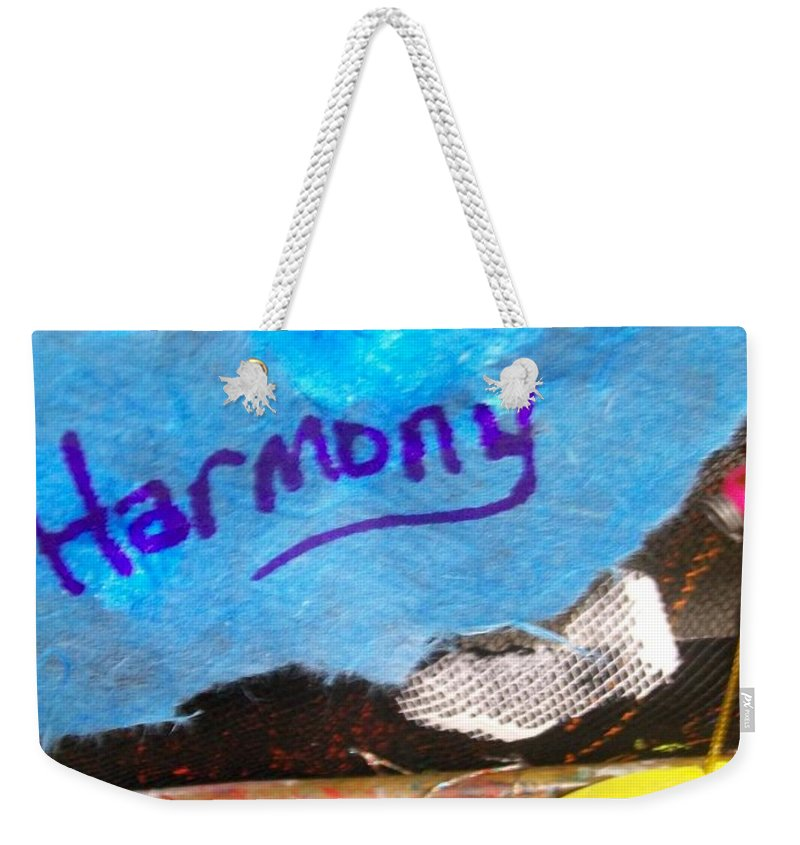Blue Weekender Tote Bag featuring the mixed media Harmony by Laurette Escobar