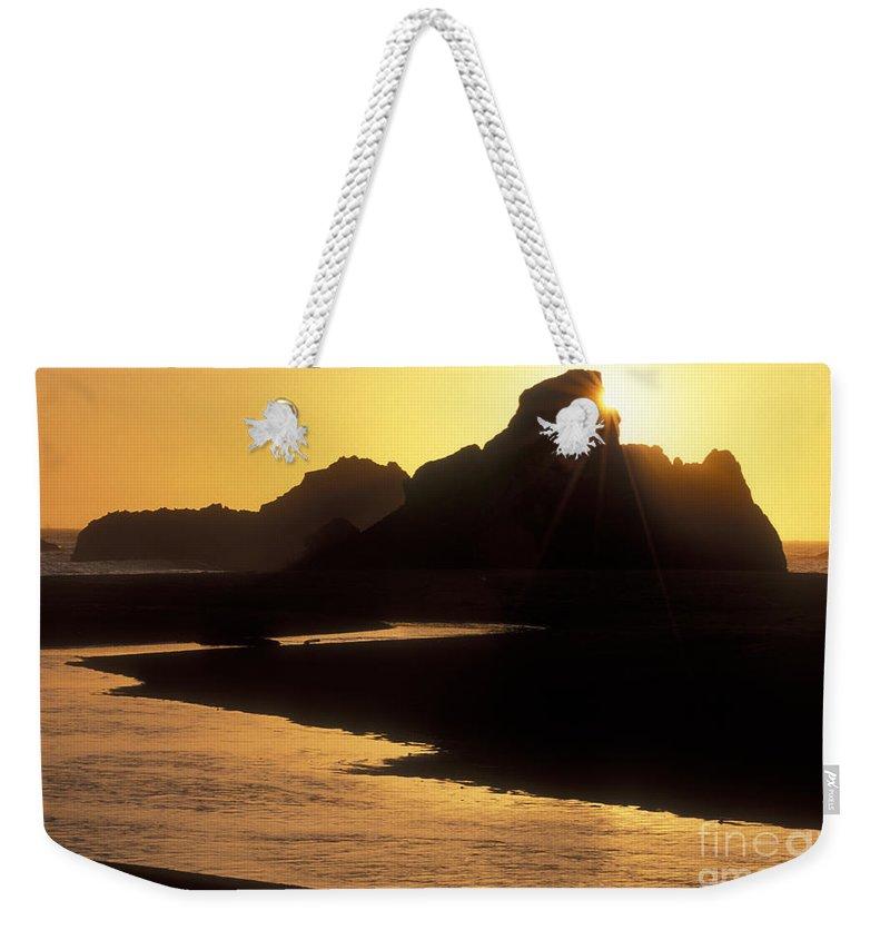 Sandra Bronstein Weekender Tote Bag featuring the photograph Harris Beach Sunset by Sandra Bronstein