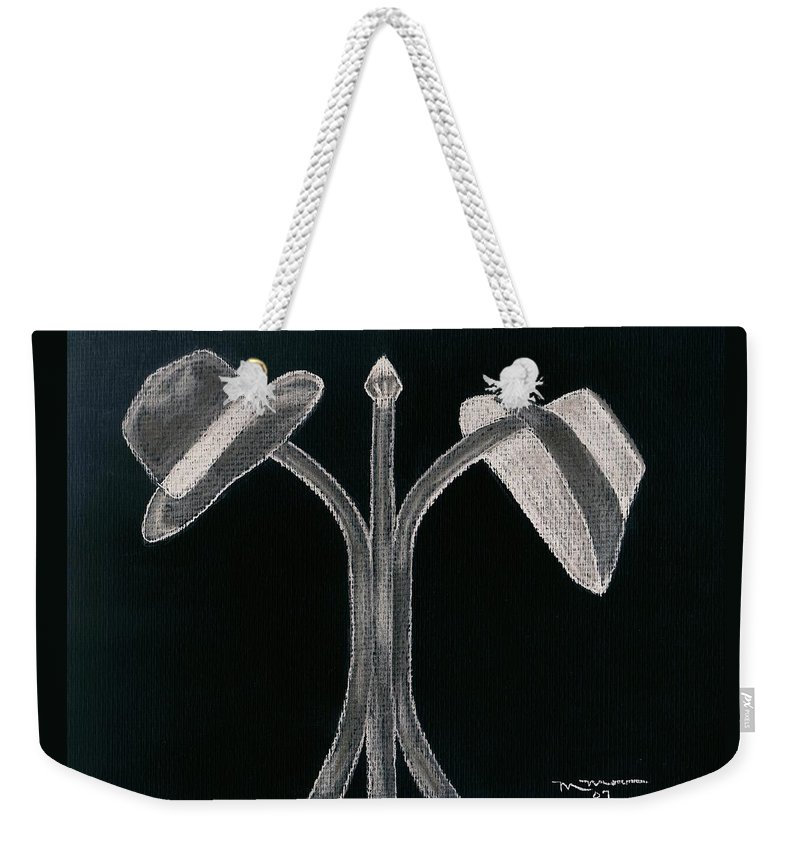 Hat Weekender Tote Bag featuring the drawing Hat's Off by Melvin Moon