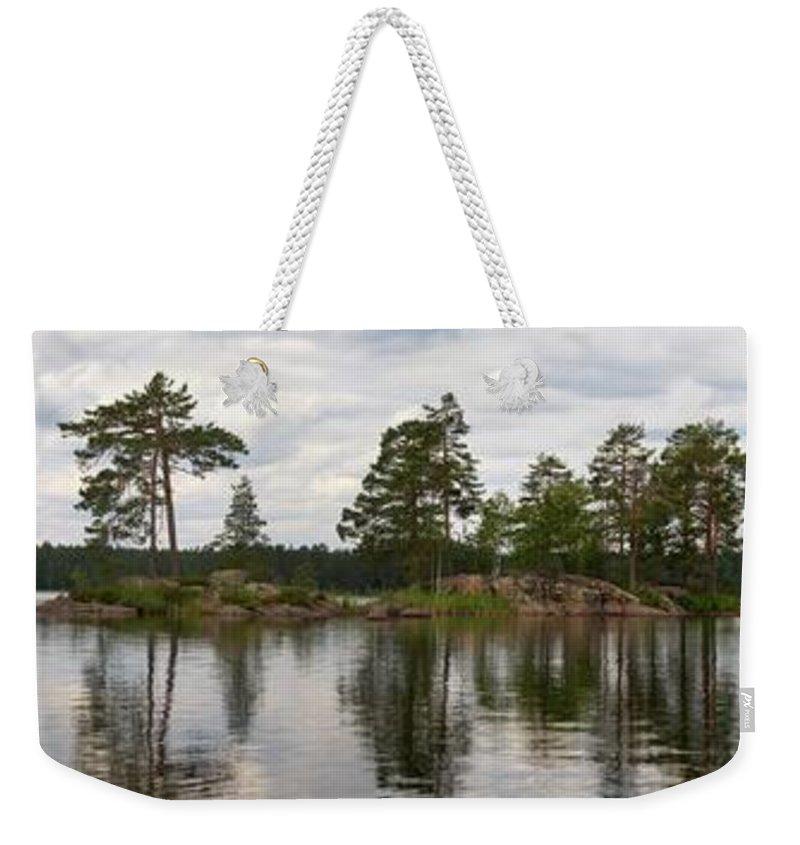 Haukkajärvi Weekender Tote Bag featuring the photograph Haukkajarvi Panorama by Jouko Lehto