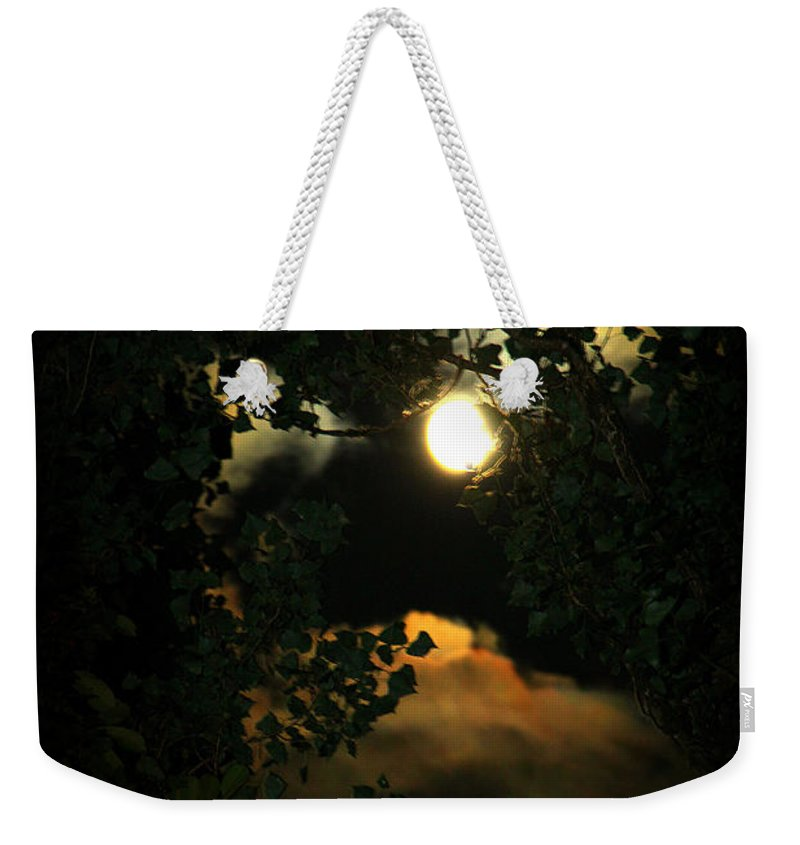 Moon Weekender Tote Bag featuring the photograph Haunting Moon by Jeanette C Landstrom