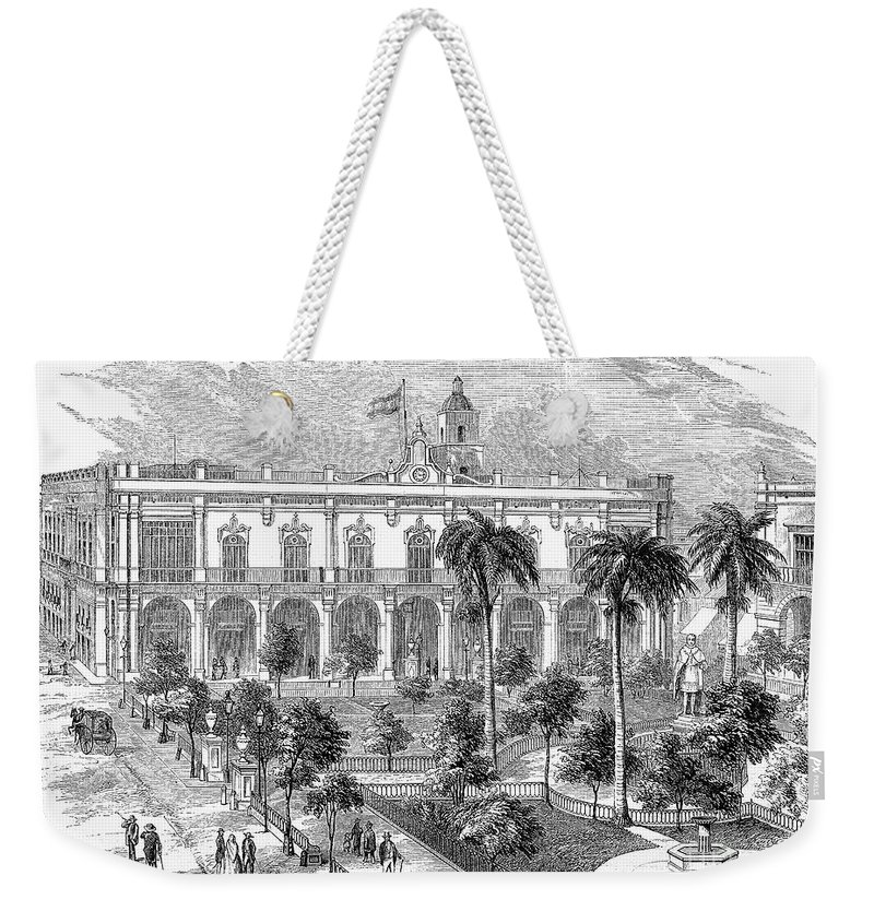 19th Century Weekender Tote Bag featuring the photograph Havana: Plaza De Armas by Granger