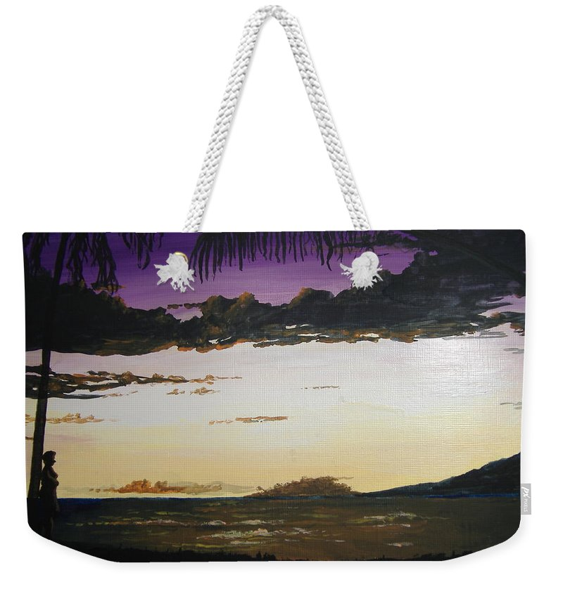 Hawaii Weekender Tote Bag featuring the painting Hawaiian Sunset by Norm Starks