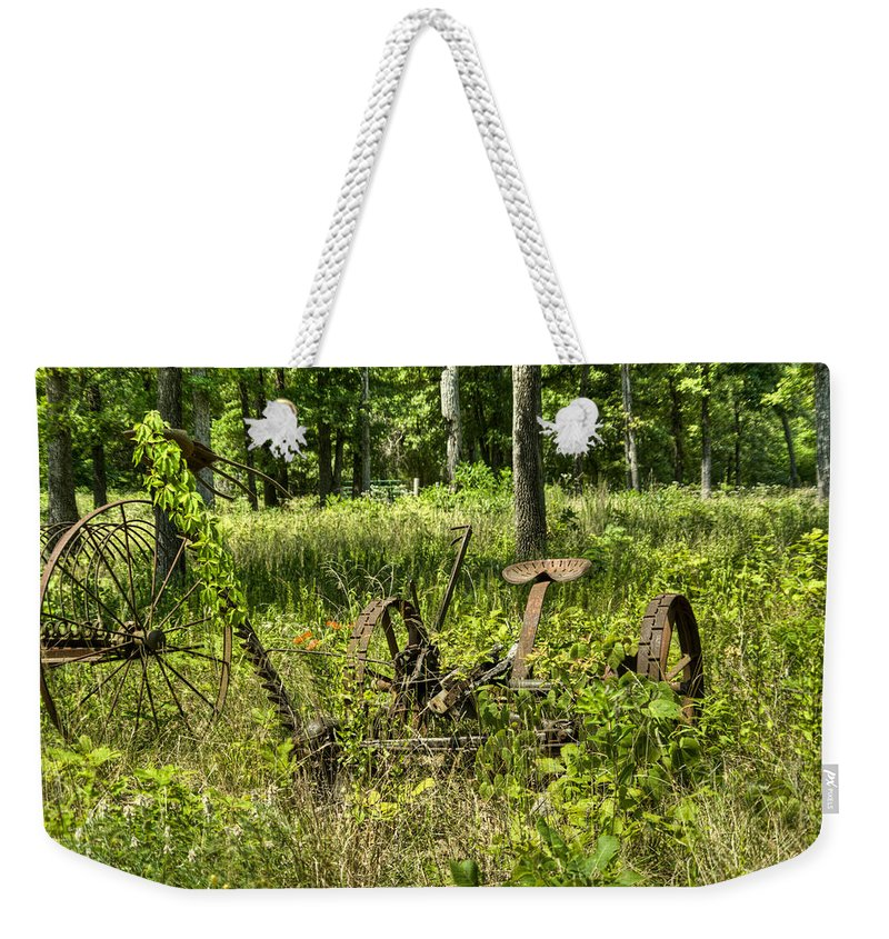 Weekender Tote Bag featuring the photograph Hay Cutter 2 by Douglas Barnett