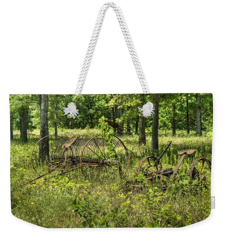 Farm Weekender Tote Bag featuring the photograph Hayrake And Cutter 2 by Douglas Barnett