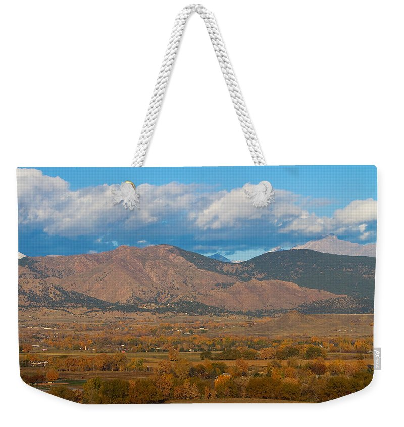 Colorful Weekender Tote Bag featuring the photograph Haystack Autumn View by James BO Insogna