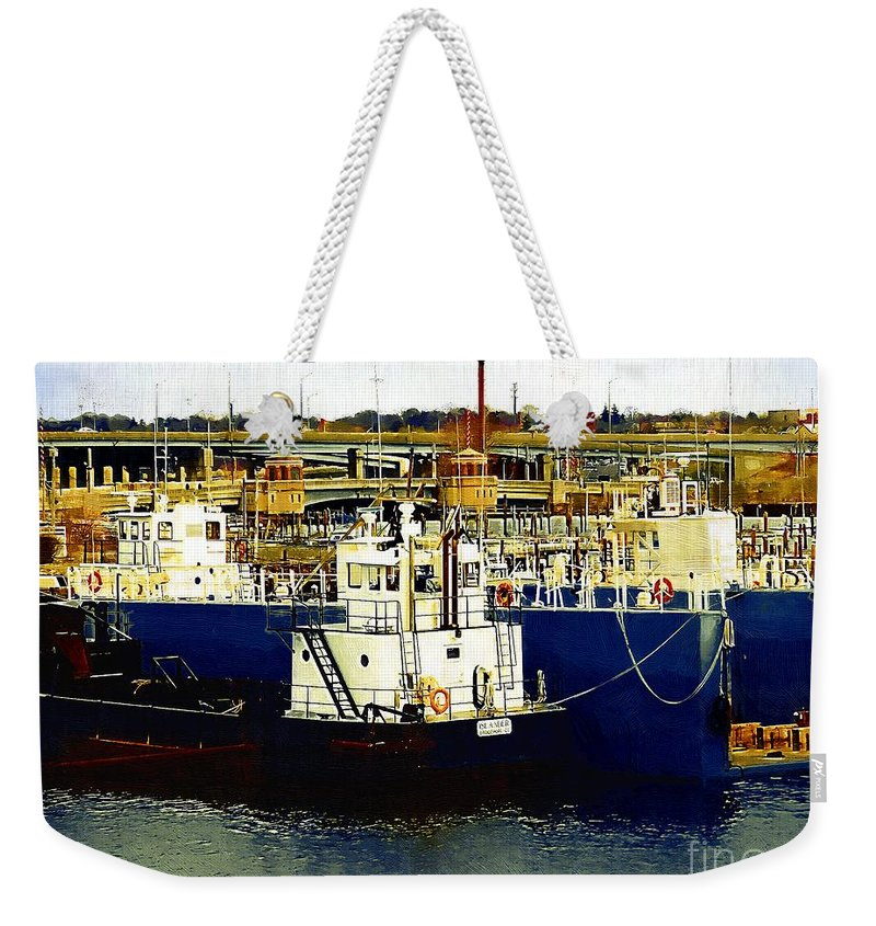 Boats Weekender Tote Bag featuring the painting Heading Out Of The Harbor by RC DeWinter