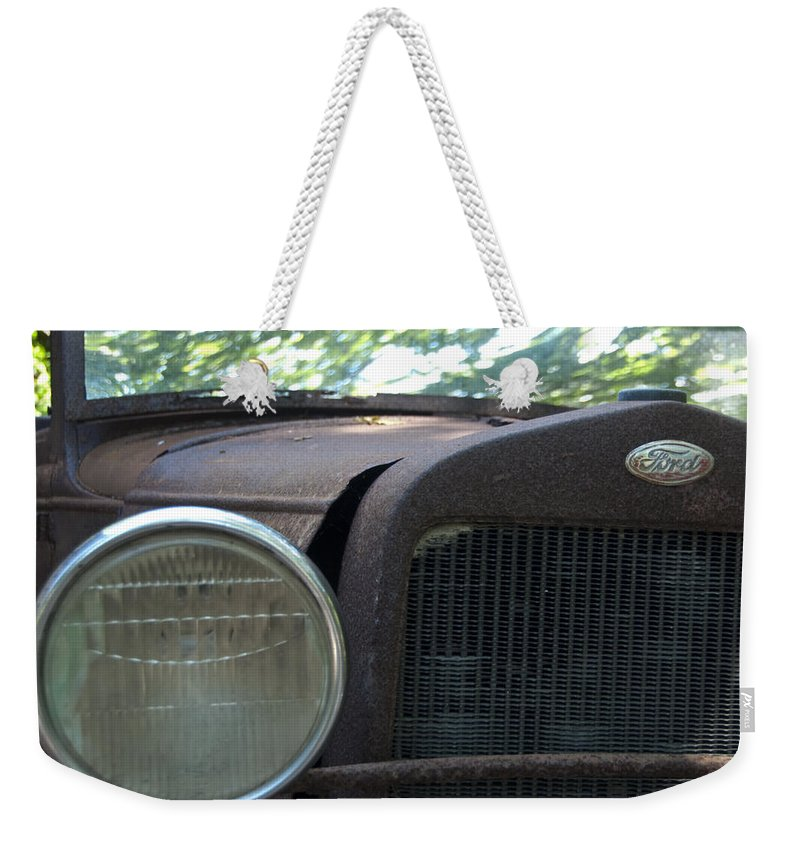 Natanson Weekender Tote Bag featuring the photograph Headlight by Steven Natanson