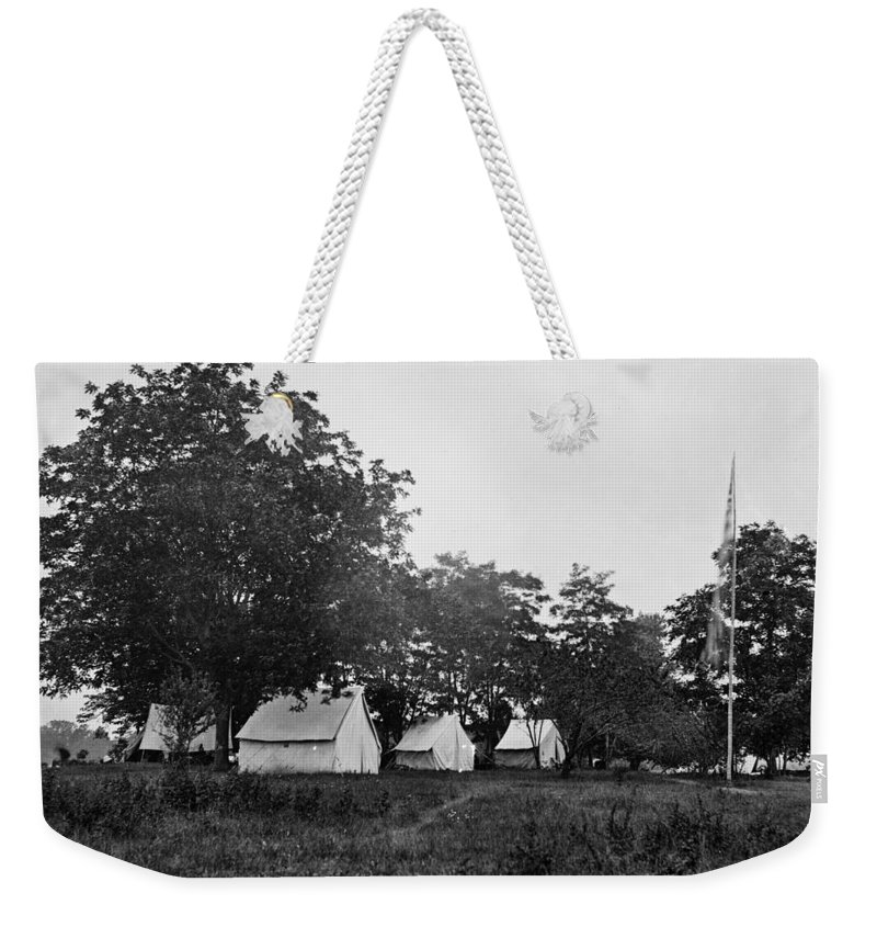 civil War Weekender Tote Bag featuring the photograph Headquarters - Army Of The Potomac - Fairfax Courthouse Virginia 1863 by International Images
