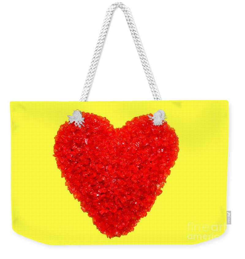 Red Weekender Tote Bag featuring the photograph Heart Of Glass by Olivier Le Queinec