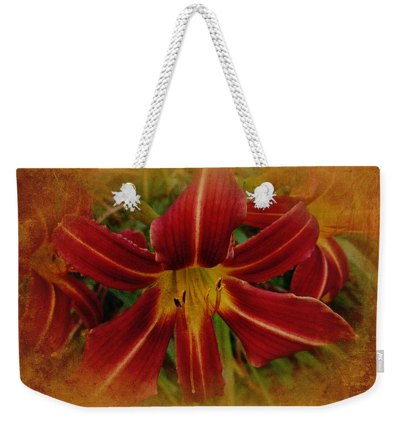 Lily Weekender Tote Bag featuring the photograph Heart Of The Lily by Mother Nature