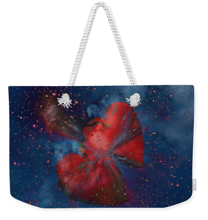 Hearts Weekender Tote Bag featuring the digital art Hearts In Space by Linda Sannuti