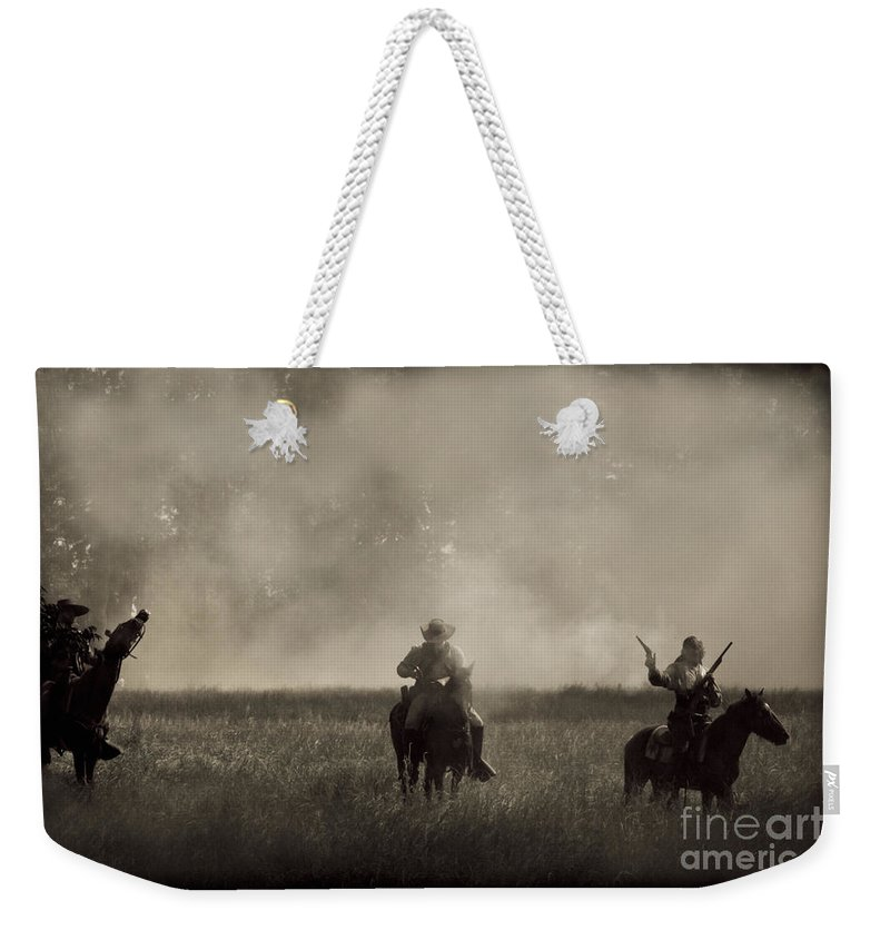 Reenactments Weekender Tote Bag featuring the mixed media Heat Of The Battle by Kim Henderson