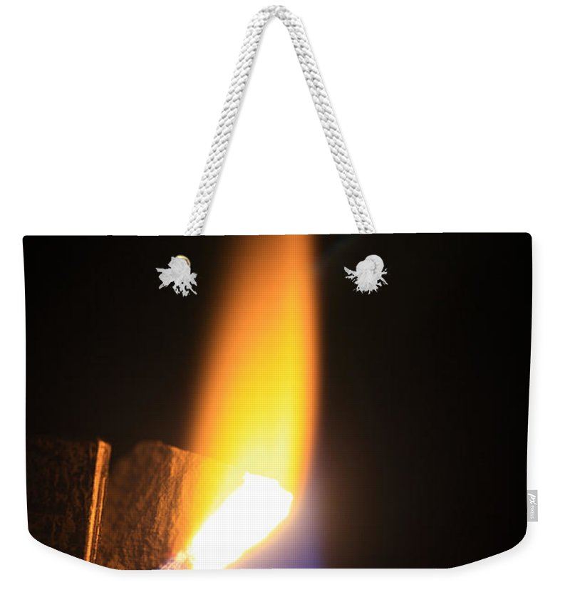 Science Weekender Tote Bag featuring the photograph Heating Lime Limelight by Ted Kinsman
