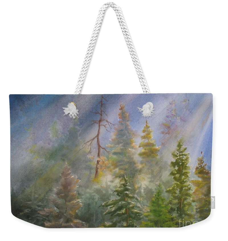 Weekender Tote Bag featuring the painting Heavenly Rays by Mohamed Hirji