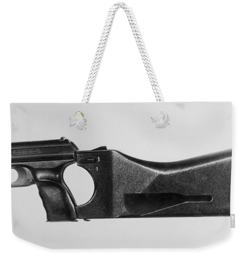 20th Century Weekender Tote Bag featuring the photograph Heckler & Koch Pistol by Granger