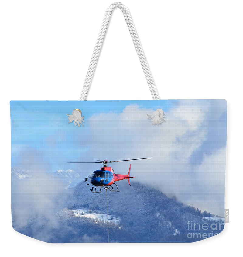 Helicopter Weekender Tote Bag featuring the photograph Helicopter by Mats Silvan