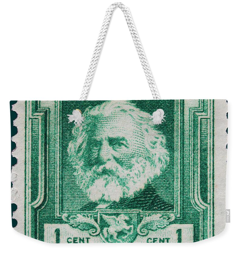 Henry W Longfellow Postage Stamp Weekender Tote Bag featuring the photograph Henry W Longfellow Postage Stamp by James Hill