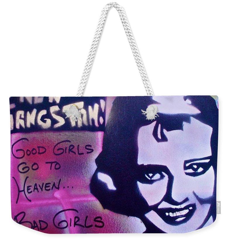 Graffiti Weekender Tote Bag featuring the painting Hepburn Gangstah by Tony B Conscious