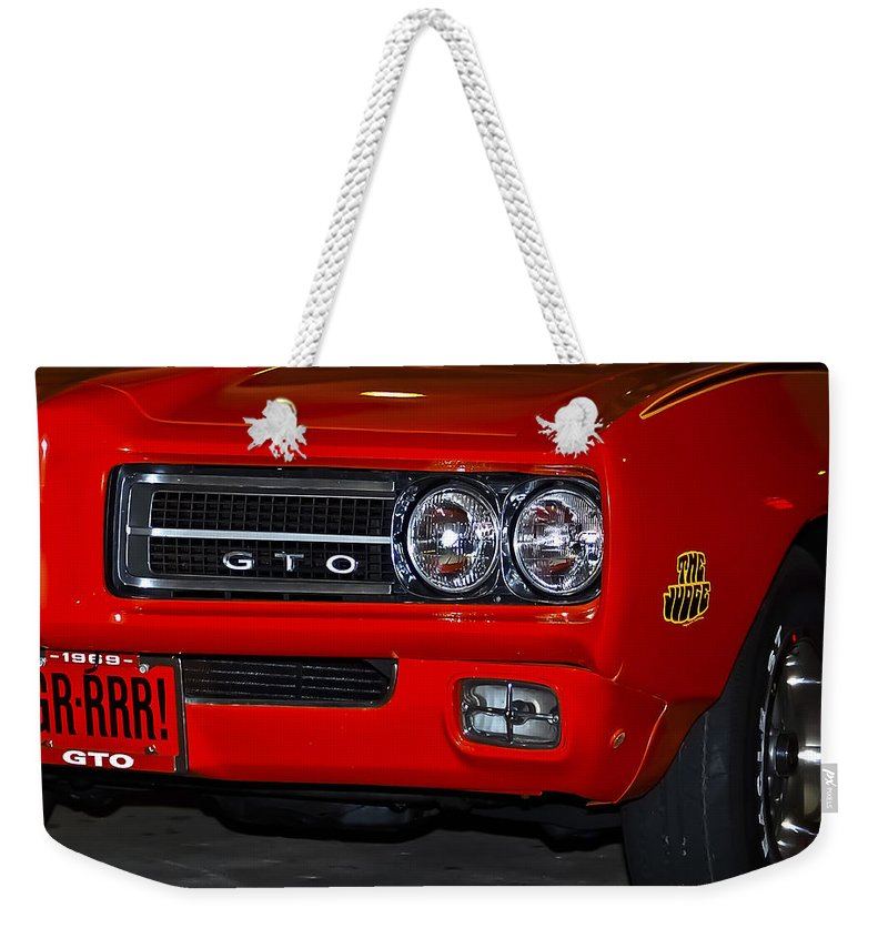 Pontiac Weekender Tote Bag featuring the photograph Here Comes The Judge by DigiArt Diaries by Vicky B Fuller