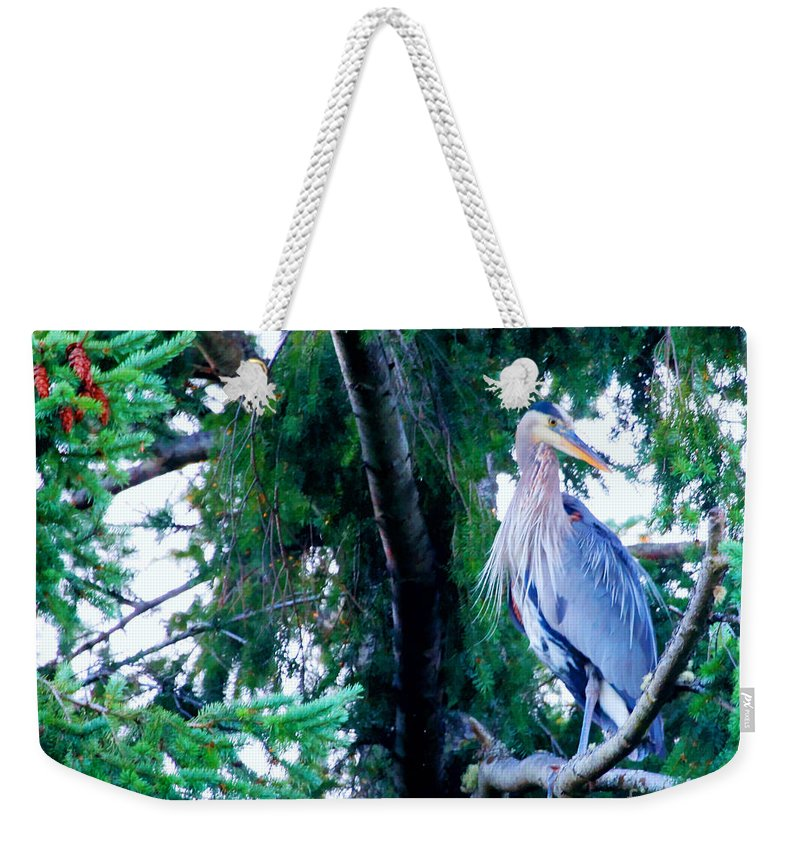 Great Blue Heron Weekender Tote Bag featuring the photograph Heron by Tap On Photo