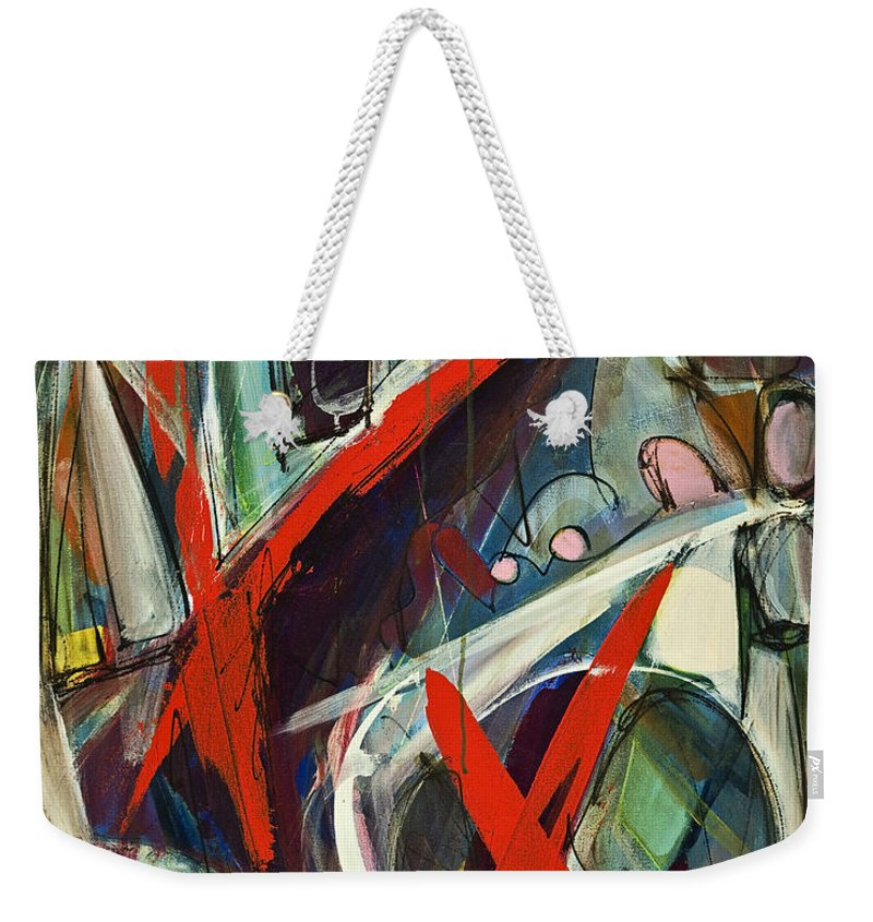 Abstract Weekender Tote Bag featuring the painting Hidden Grace by Lynne Taetzsch