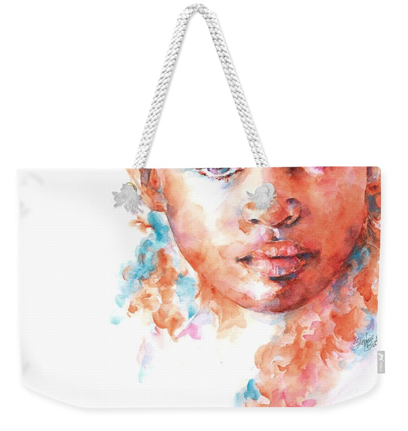 A Portrait Of An African Child Painted In Watercolour As Part Of The Collection Of children Of The World. Weekender Tote Bag featuring the painting Hidden Tears by Stephie Butler