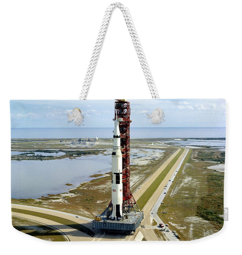 1970 Weekender Tote Bag featuring the photograph High Angle View Of The Apollo 14space by Stocktrek Images