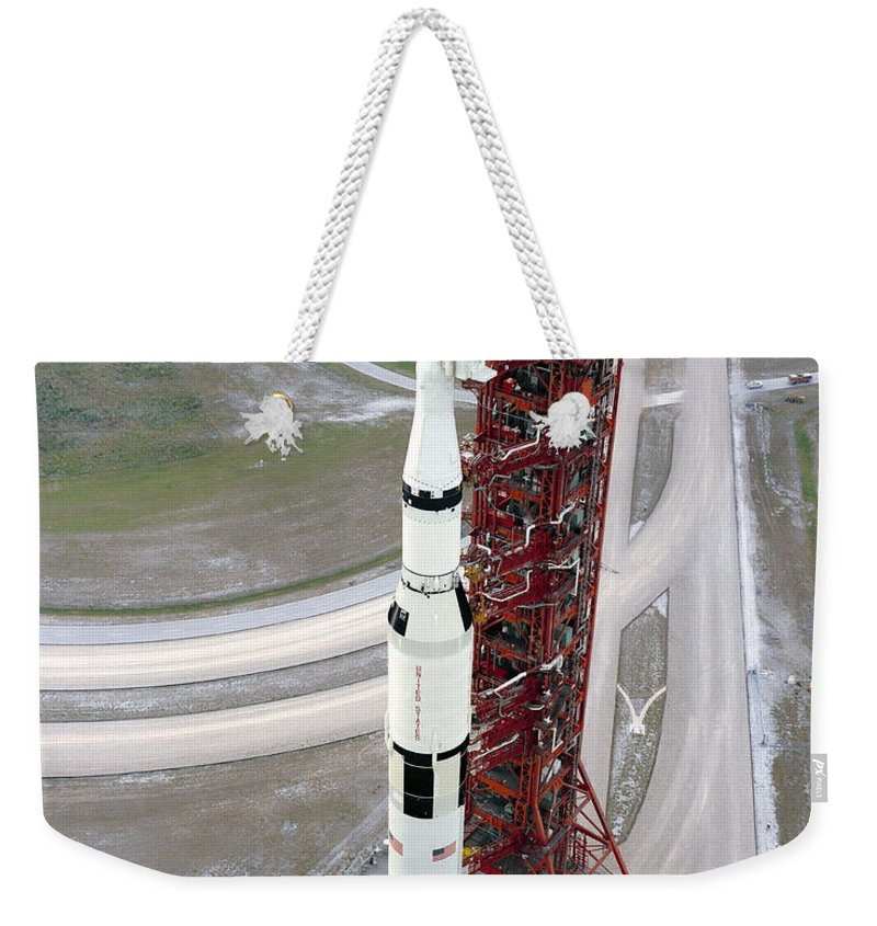 1971 Weekender Tote Bag featuring the photograph High Angle View Of The Apollo 15 Space by Stocktrek Images