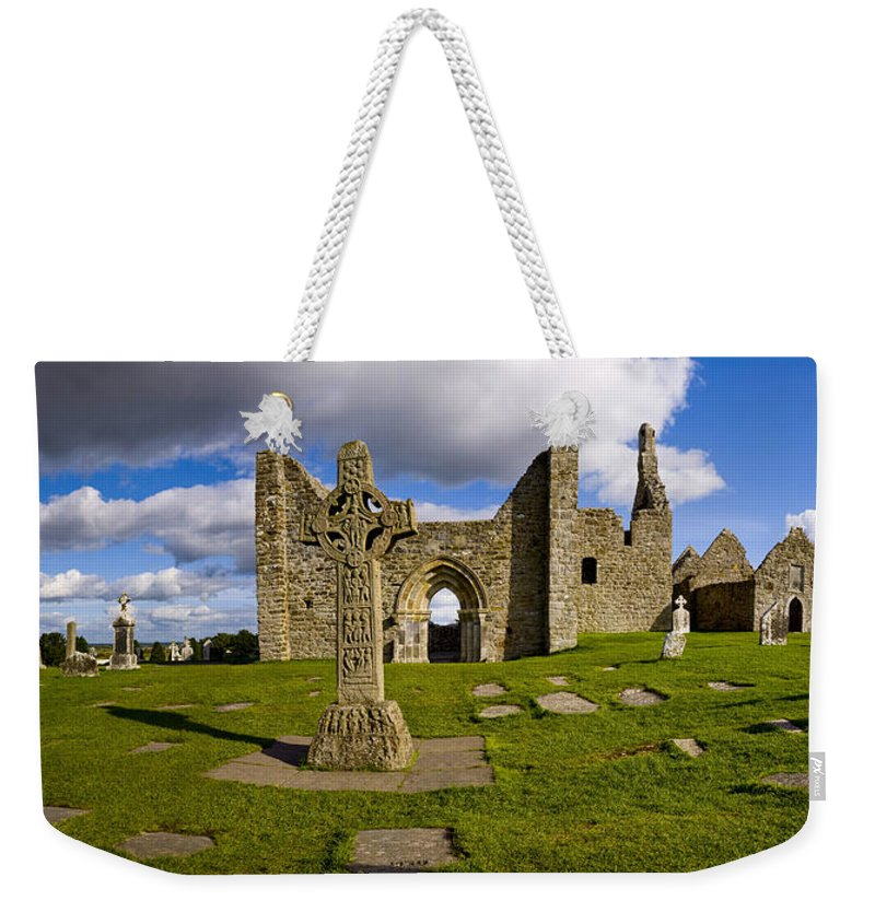 Photography Weekender Tote Bag featuring the photograph High Cross At Clonmacnoise, County by Chris Hill