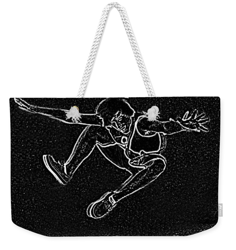 People Weekender Tote Bag featuring the digital art High Jump II by Debbie Portwood