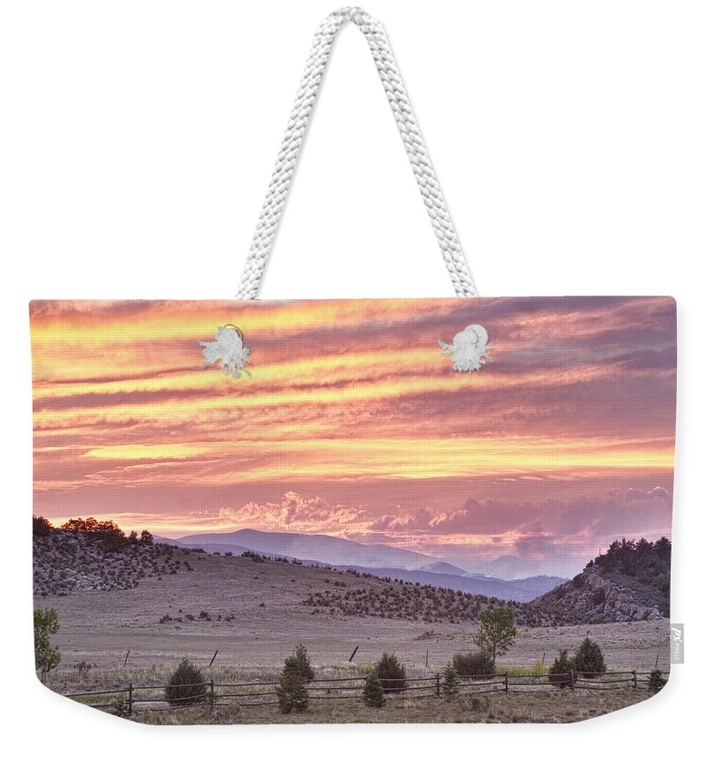 'high Park Fire' Weekender Tote Bag featuring the photograph High Park Fire Larimer County Colorado At Sunset by James BO Insogna