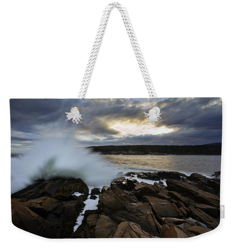 Maine Weekender Tote Bag featuring the photograph High Tide At Otter Point by Rick Berk