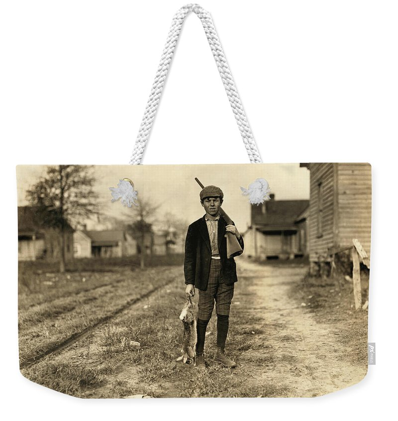 1908 Weekender Tote Bag featuring the photograph Hine: Hunter, 1908 by Granger