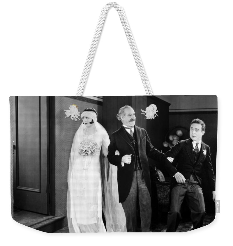 -weddings & Gowns- Weekender Tote Bag featuring the photograph His Marriage Wow, 1925 by Granger
