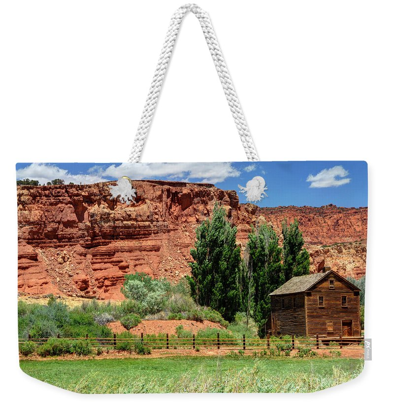 Historic Weekender Tote Bag featuring the photograph Historic Bicknell Grist Mill - Utah by Gary Whitton