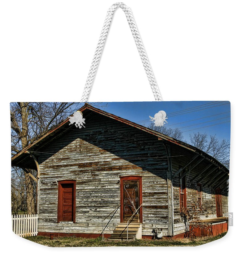 Railroad Weekender Tote Bag featuring the photograph Historic Circa 1800s Railway Station by Kathy Clark