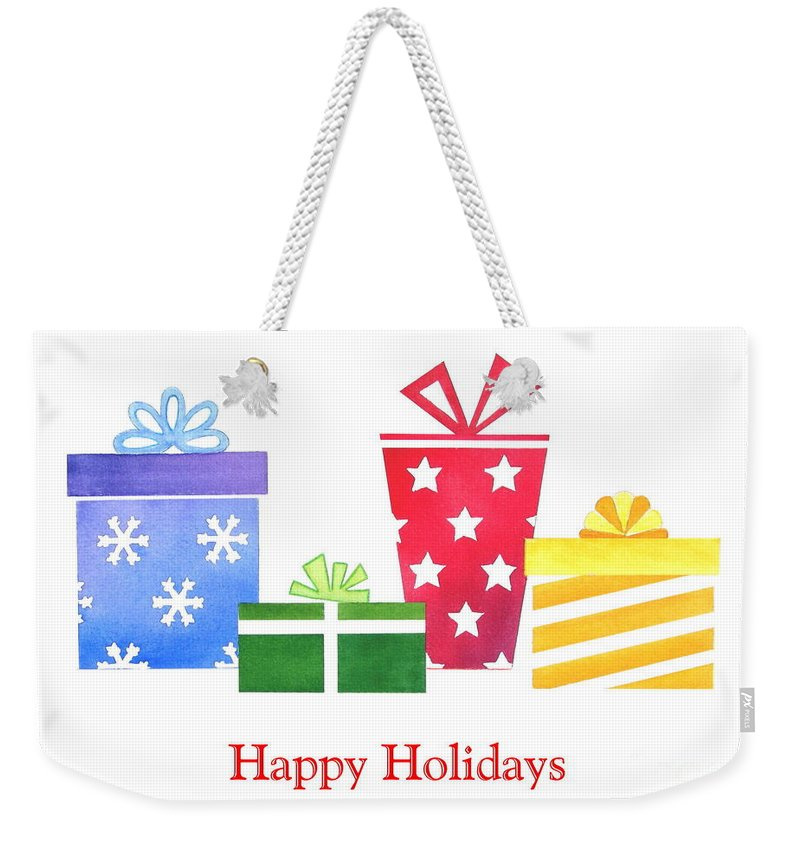 Christmas Weekender Tote Bag featuring the painting Holiday Presents by Deborah Ronglien