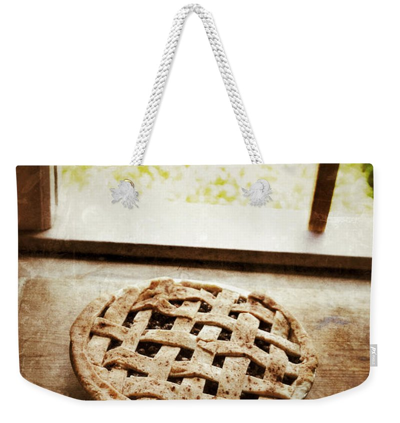 Pie Weekender Tote Bag featuring the photograph Home Made Pie Cooling By Open Window by Jill Battaglia
