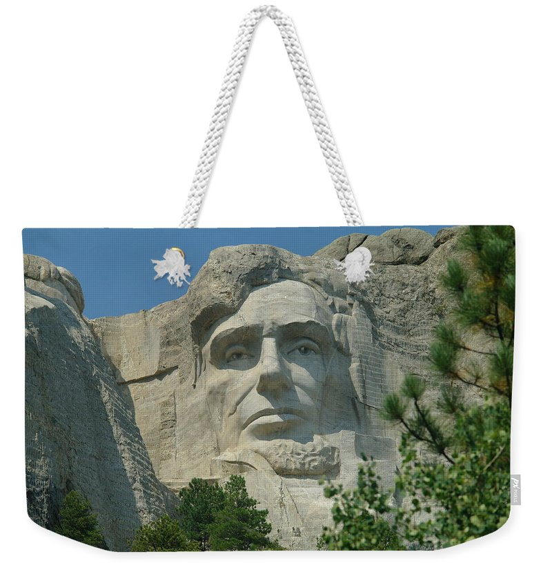 Sculptures Weekender Tote Bag featuring the photograph Honest Abe In Stone by Jeff Swan